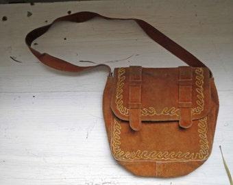 Vintage 70s Burnt Orange Suede Boho Bag Satchel Small