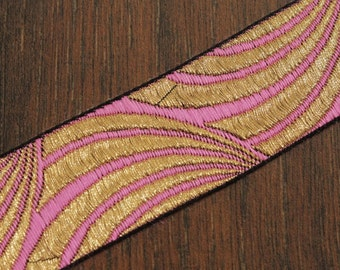 1 yard-Pink Jacquard Ribbon-Sari Fabric Trim-Table Runner-Art Quilt fabric trim-Designer Silk Saree Border Trim-Brocade Fabric Trim