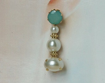 Soft light Jade Green Pearl Drop Earrings Convertible Prom Wedding Quinceanera