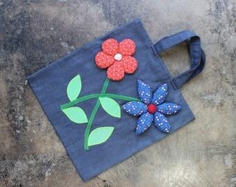 1970's Denim Flower Tote / Vintage Quilted 3D Floral Bag / Flower Power 70's Purse