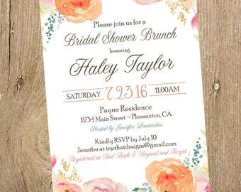 Floral Bridal Shower Invitation- Digital