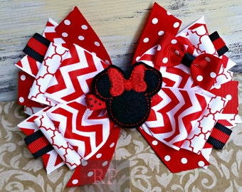 Stacked Boutique Hairbow with Minnie Mouse Felt Clip Center - Hair Clip - Mickey Animal Hand Sewn Bow - RTS