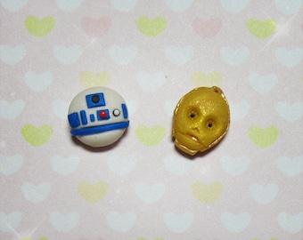 Tiny R2-D2 & C3PO stud earrings - Star Wars tribute - Handmade!