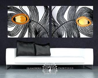 Sofa painting + Swarovski® crystals MY PRIDE decor living room wall art. Mustard yellow home decor sofa wall art living room decor Lydia Gee