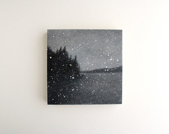 Black and White Snowfall Oil Painting - 6 x 6