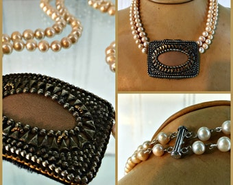 Pearl Necklace  2 Strands with 1900 French Steel Shoe Buckle Focal Point 100 Hand Knotted Pearls 17 Inches Long