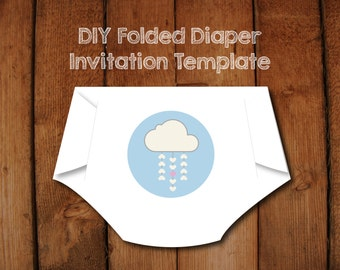 DIY Diaper Invitation Templates with Instructions- Make your own Diaper shaped baby shower invitations- love cloud
