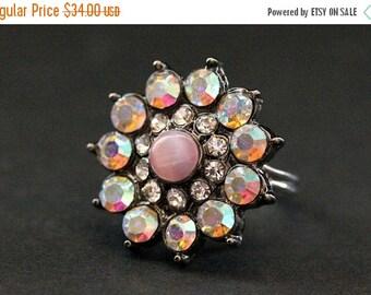 BACK to SCHOOL SALE Vintage Button Ring. Pink Rhinestone Ring. Rhinestone Flower Ring. Adjustable Ring. Handmade Jewelry.