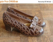 SALE / vintage 1940s shoes / 40s chocolate brown leather heels / size 5.5