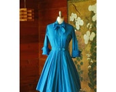 SALE / vintage 1950s dress / 50s blue cotton shirtwaist dress / Parkland of Dallas / size small medium