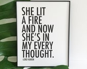 She Lit A Fire And Now She's In My Every Thought Lord Huron Lyrics Quote Hipster Love Poster