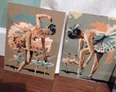 1960s vintage  Paint by numbers ballerina pairs rustic