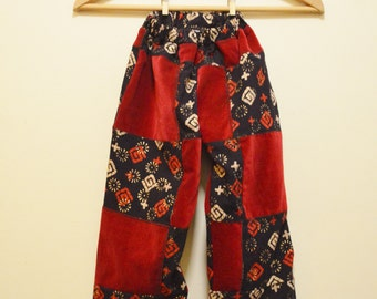 Childrens Red Velvet/Indian Screenprint Patchwork Pants