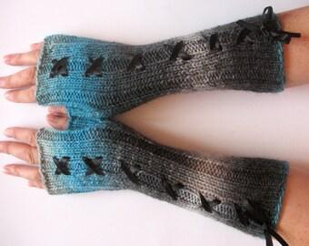 Corset Fingerless Gloves Mittens Gray Blue Azure Arm Warmers Wool