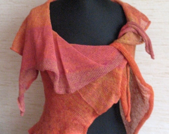 Linen Scarf Linen Cape Red Orange Organic Linen Women's Scarf Pure Linen Spring Clothing