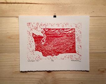 "Fly fishing artwork ""Washington Steel"" by Jonathan Marquardt of BadAxeDesign linocut"