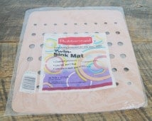 Vintage 1993 Rubbermaid Twin Sink Mat Putty Color 10 3/4 x 12 3/4
