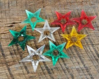 Vintage Christmas Light Bulb Reflectors Plastic Stars Set of 8
