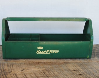 Vintage Amsco Hand E Toter Green Metal Tool Tote with Compartment Slide