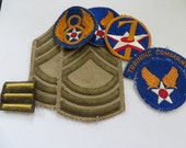 US Army Airforce Patch Lot MSGT Summer Weight Ranks 8th and 7th Airforce Patches & More