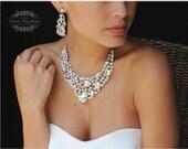 Bridal jewelry set, Wedding necklace, wedding jewelry set, bridal necklace, Bridal backdrop necklace, bridal statement, crystal jewelry set