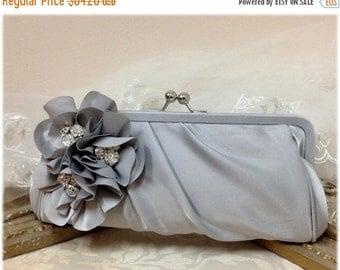 Wedding clutch, Bridesmaid clutch, Gray clutch, silver clutch, evening bag, Bridesmaid bag, crystal clutch, flower bag9