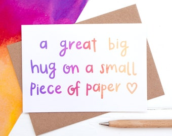 Big Hug card - Sympathy Card - Paper Hug - Thinking of you card - Sorry Card - Get well soon