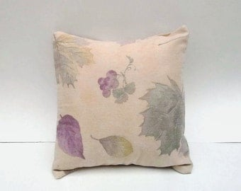 Leaf Print on Tan Accent Throw Pillow Cover 14 Inch Square Upcycled 14 X 14
