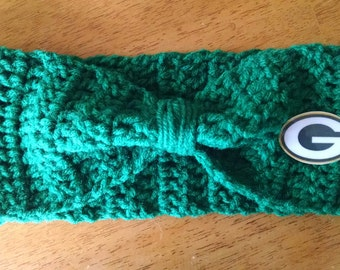 Crocheted Green Bay Packers Headband