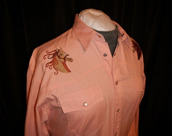 Western Wear Vintage Pink/Peach Denim Longsleeve Shirt White Pearl Snaps Horse Embroidery
