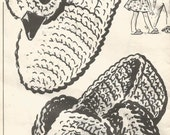Vintage Mail Order Design #5596 Crochet Child Pet Slippers Pattern