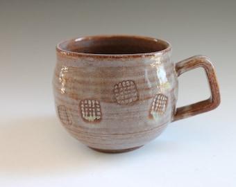 Reddish Purple Coffee Mug, Stoneware Coffee Mug, Soup Textured Design Mug, Handmade Pottery Mug