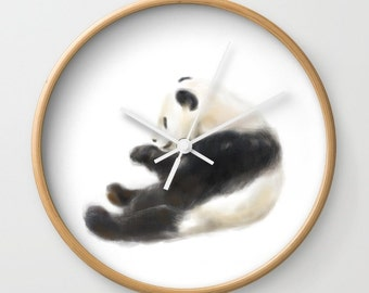 Panda Wall Clock, Animal, Woodland, Adorable, Love, Nursery, Wall Clock, Modern Home Decor, Modern Clock, Modern Wall Clock