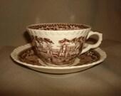 Mason's Ironstone VISTA BROWN Tea Cups & Saucers 11 Available