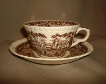Mason's Ironstone VISTA BROWN Tea Cups & Saucers 11 Available