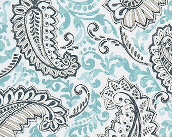 "Two  96"" x50""  Custom Curtain Panels - Large Paisley Turquoise"