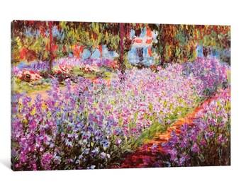 iCanvas Jardin De Giverny Gallery Wrapped Canvas Art Print by Claude Monet