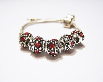 5 Fancy Barrel Spacers with Red Czech Crystals, Tibetan /  Antique Silver  European Style, Beads for Bracelets, Euro