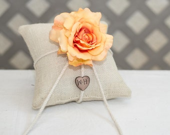 Peach Rose ring bearer pillow. Customize with flower and initials