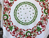Vintage Round Christmas Tablecloth Fringed Edge