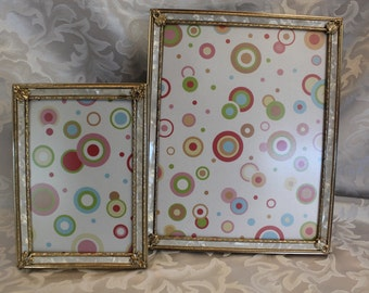 Vintage Gold Decorative w/Corner Embellishment Mother Pearl Design Picture Frames