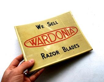 Vintage Mid Century Advertising Wardonia Razor Blades Shop Display Rubber Mat