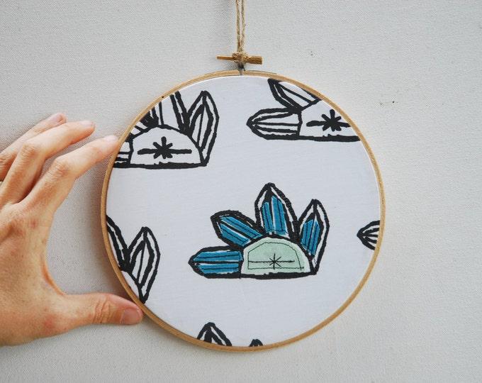 Quilted Fiber Art Hoop, Mini Art Project, Hoop Art, Stitch Art, OOAK Wall Hanging - Crystals, Green Gemstone, Made to Order