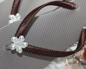 Chocolate brown flip flops for women. Perfect as casual footwear, bridal flip flops, honeymoon gift.