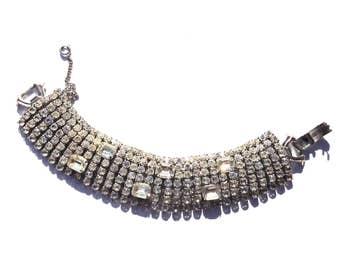 Weiss Rhinestone Bracelet Gorgeous Glamour Bridal Wedding Fashion Vintage Jewelry