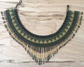 GUERRERA Fringe Necklace / Beaded Necklace / Collar / Statement Necklace / Tribal Jewelry / Guatemalan / Boho / Ethnic / Green-Gold-Black