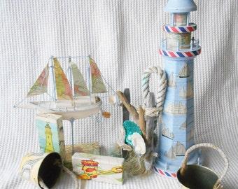 Marine Set Home Decor Shabby Seaside chic Beach Hut Decor Sealife Seaside Boats Shells Lighthouse