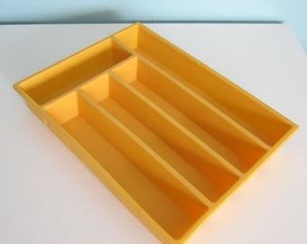 Sunny Gold Flatware Tray, Golden Yellow Utensil Tray, Harvest Gold Drawer Organizer, Gold Silverware Tray, Flatware Caddy, Utensil Caddy