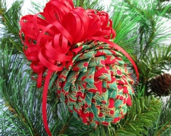 Fabric Pinecone Ornament - Red and Green Holly Fabric, Metallic Gold Highlights and Red Bow - Christmas Ornament