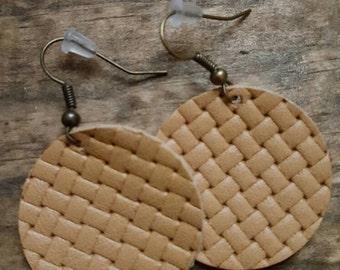 Kaki Leather Circle Earring